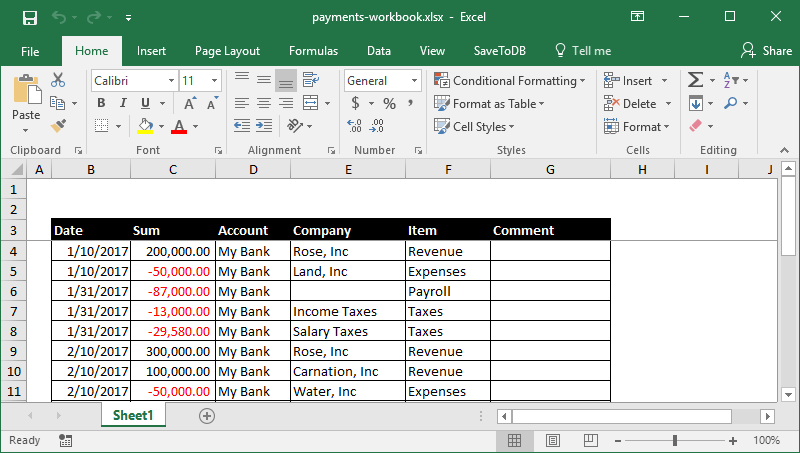 Sample table of payments in Excel