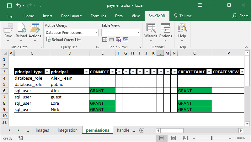 Editing database permissions in Excel