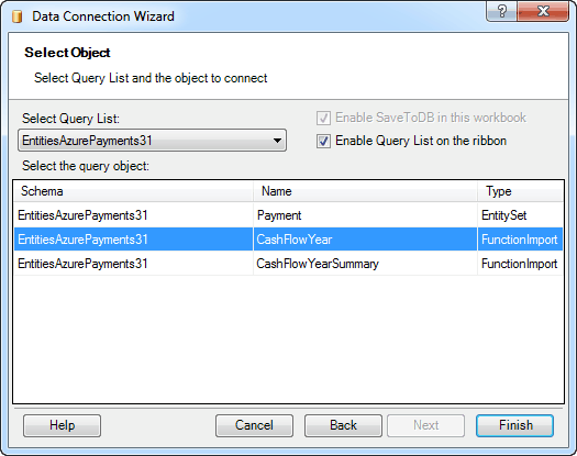 Connecting Excel to OData - Selecting EntitySet or FunctionImport