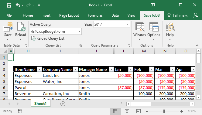 SaveToDB Data Connection Wizard - Connected budget form