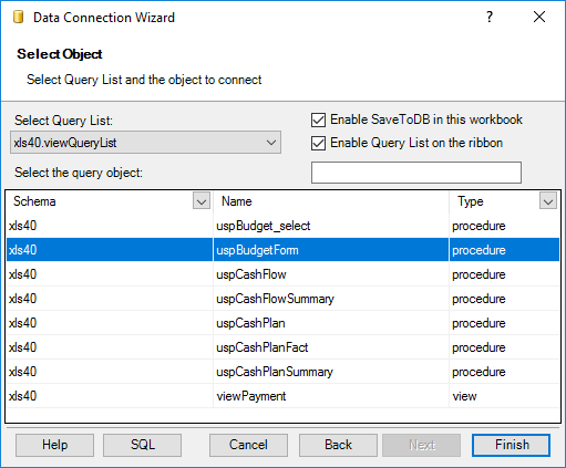 SaveToDB Data Connection Wizard - Selecting an object to connect filtered by the query list