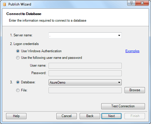 Publish Excel data to database wizard - Connecting to SQL Server database