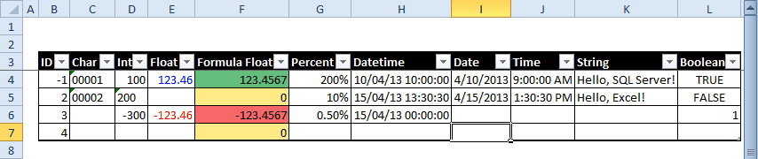 Publish Excel data to database wizard - Source Table