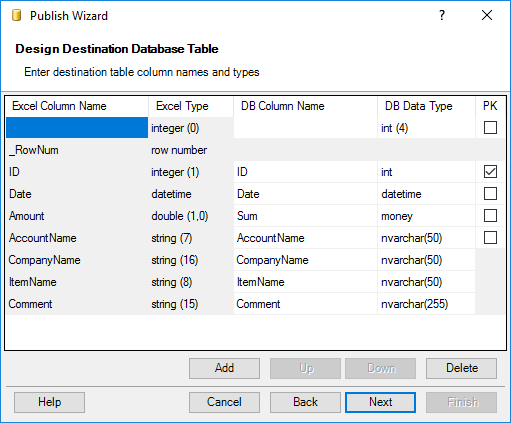 Create Database Tables and Publish Data from Excel