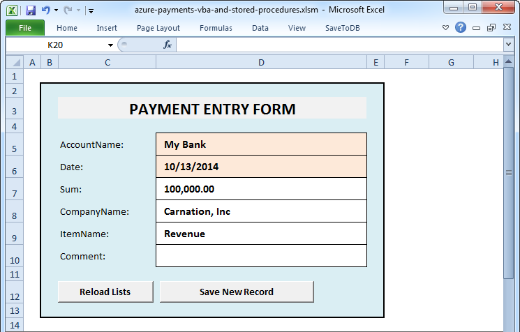 New Payment Form using VBA
